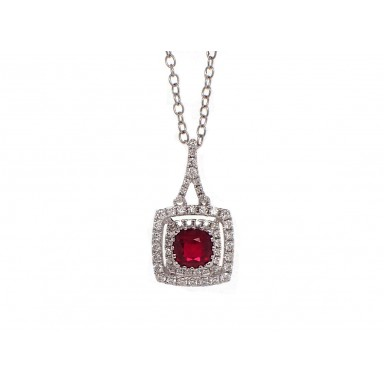 Cushion Cut Ruby and Diamond Pendant