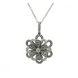 Layered Flower Diamond Pendant