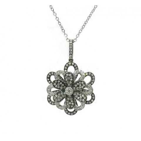 Layered Flower Diamond Pendant