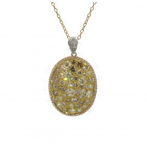 Oval Multicolored Diamond Pendant