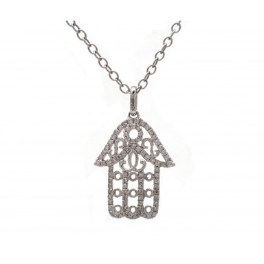Hamsa - Ornate White Gold and Diamond Hand