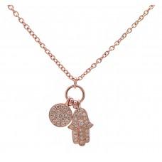 Hamsa and Disc - Rose Gold and Diamond Hand