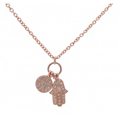 Hamsa and Disc - Rose Gold and Diamond Hand