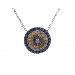 Circular Yellow and Blue Sapphire Pendant