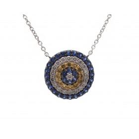 Circular Yellow and Blue Sapphire Pendant