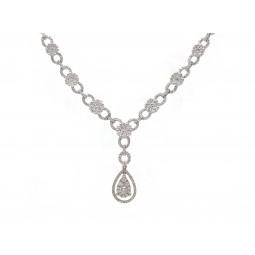Pear Shape Cluster Drop Necklace