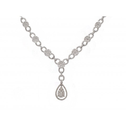 Pear Shape Cluster Drop Necklace