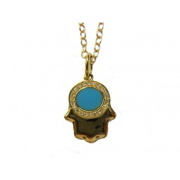Hamsa - Yellow Gold and Turquoise Hand