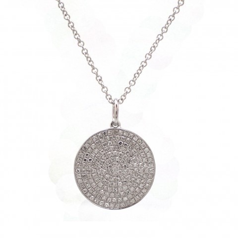 White Gold Disc Pendant