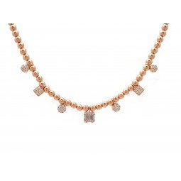 Rose Gold Ball and Diamond Necklace