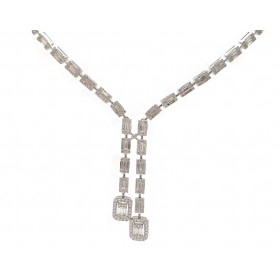 Stunning Baguette Diamond Lariat Necklace