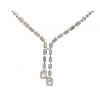 Stunning Baguette Diamond Lariat Necklace