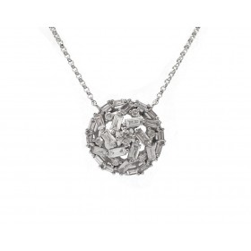 Baguette and Round Diamond Swirl Pendant