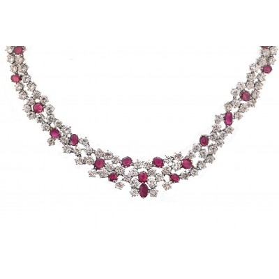 Stunning Ruby and  Diamond Necklace