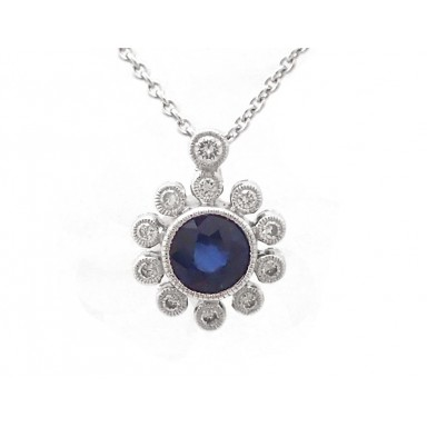 Sapphire and Diamond Sunrise Pendant