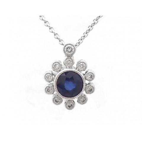 Sapphire and Diamond Sunrise Pendant