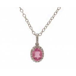 Oval Pink Tourmaline and Diamond Pendant