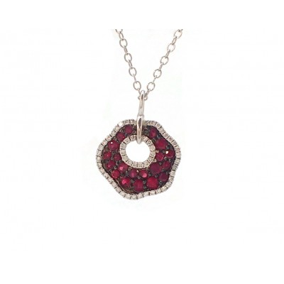 Freeform Ruby and Diamond Pendant