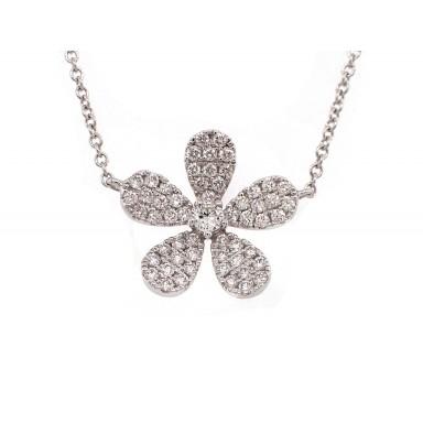 5 Petal Flower Pendant - White