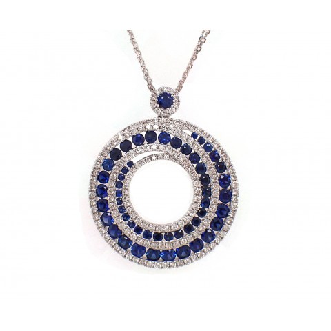 Sapphire and Diamond Swirl Pendant