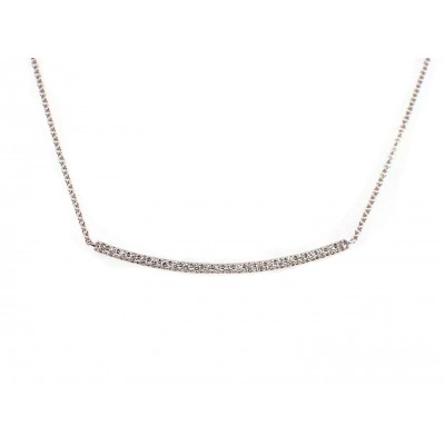 Curved Bar Necklace - White Gold