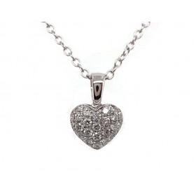 Puffed Diamond Heart Pendant