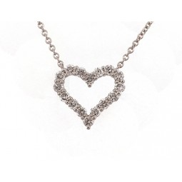 Diamond Heart Pendant - White Gold