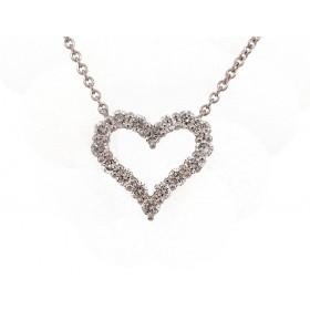 Diamond Heart Pendant - White Gold