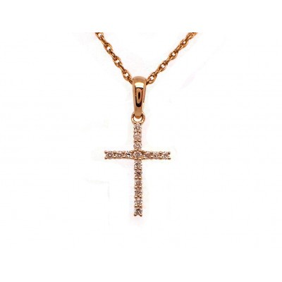 Diamond Cross Pendant - Yellow Gold