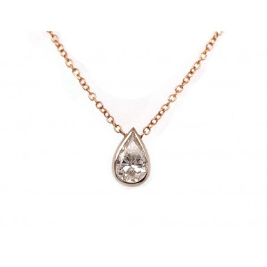 Pear Shape Diamond Solitaire Necklace