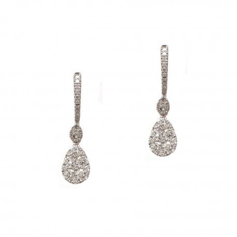 Pear Shape Cluster Drop Earrings