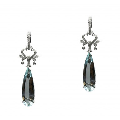 Antique Style Aquamarine Earrings