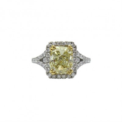 Stunning Fancy Yellow Cushion Cut Engagement Ring