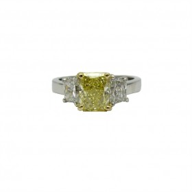 Beautiful Fancy Yellow Radiant and Trapezoid Diamond Engagement Ring