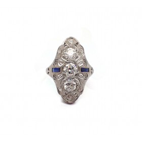 Art Deco Three Old Mine Cut Diamond  Estate Ring