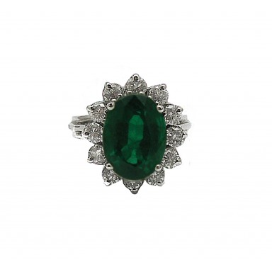 Classic Emerald and Diamond Ring