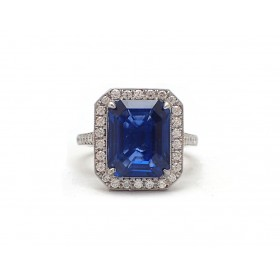GIA Certified 6CT Sapphire Ring in Halo Setting