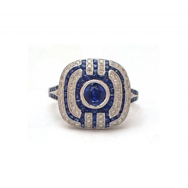 Cushion Shape Antique Style Sapphire and Diamond Ring