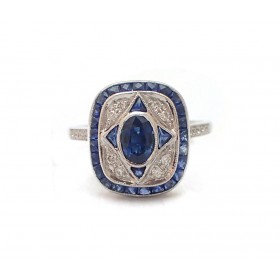 Antique Style Oval and Trillion Sapphire and Diamond Ring