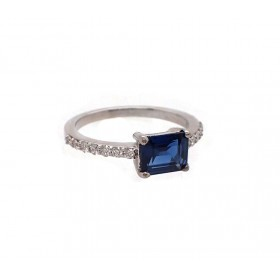 Rectangular Sapphire and Diamond Ring