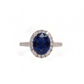 2.5CT Cornflower Blue Sapphire and Diamond Ring