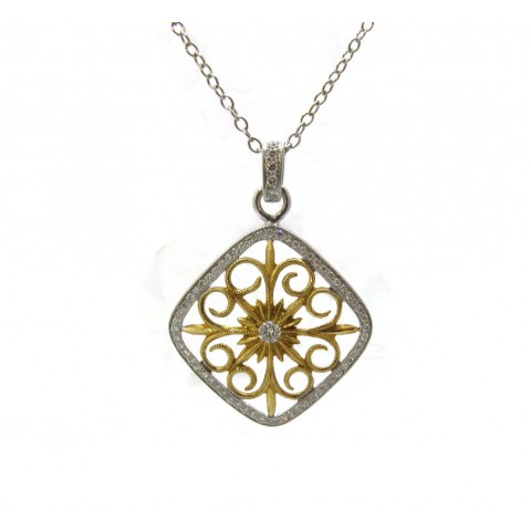 Two-tone Antique Style Pendant