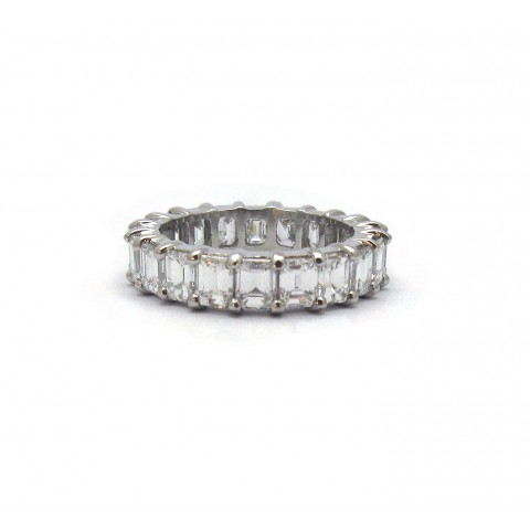 25pt Emerald Cut Eternity Band